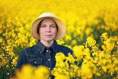 Female Farmer in Oilseed Rapeseed Cultivated Agricultural Field Stock Images