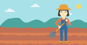 Female farmer with shovel vector illustration. Stock Images