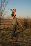 Female farmer  with spade Royalty Free Stock Photos