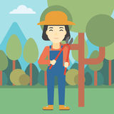 Female farmer using pruner vector illustration. Stock Photo