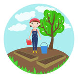 Female farmer watering garden-beds with seeds royalty free illustration