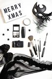 Female fashion accessories flat. Top view to composition of new year and christmas party celebration Stock Photography