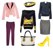 Female fashion clothes collage isolated.Classic office wear. Female bright fashion clothes set collage.Classic office vogue woman wear royalty free stock images