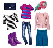 Female fashion clothes set collage. Royalty Free Stock Photos