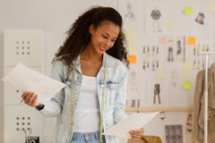 Female fashion designer at studio Stock Photos