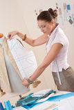 Female fashion designer working Stock Image