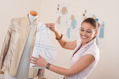 Female fashion designer working Stock Image