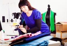 Fashion Designer In Her Studio stock images