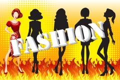 Female fashion on fire. Illustration Royalty Free Stock Photos
