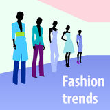 Female fashion. Group of female fashion silhouettes on the runway Royalty Free Stock Images