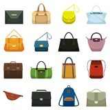 Female leather handbags and male accessory. Colorful handbag accessories, beauty bags and purse model collection vector. Female fashion leather handbags and male stock illustration