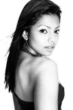 Female fashion model in black and white royalty free stock image