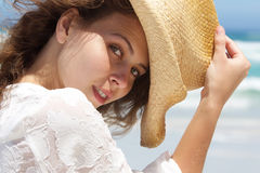 500e628442a Close Up Portrait Of Female Model In Cowboy Hat Stock Image - Image ...