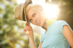 Female fashion model with hat Stock Photos