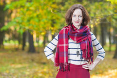 Female Fashion Model Posing in Autumn Forest Outdoors. Stock Images