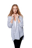 Female fashion model posing in plaid striped shirt Stock Photography