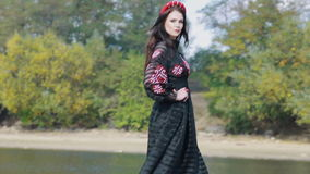Female Fashion Model Posing By The River stock video