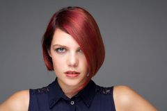 Female fashion model with short red hair Stock Photography