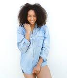 Female fashion model smiling outdoors. Stock Photos