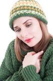 Female fashion model wearing knitted winter clothing Stock Image