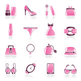 Female Fashion objects and accessories icons Royalty Free Stock Photos