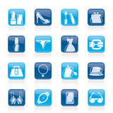 Female Fashion objects and accessories icons Stock Photography