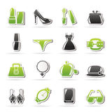 Female Fashion objects and accessories icons Royalty Free Stock Photography