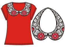 Female fashion print t-shirt, sweatshirt for silver glamor rich necklace with red precious crystals, shine brilliant stones. Stock Photos