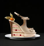 Female fashion shoe. Fashion female shoes and cake stock image