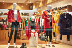 Female fashion shop  window. Front of women's clothing store in Hongkong center,Asia Royalty Free Stock Photo