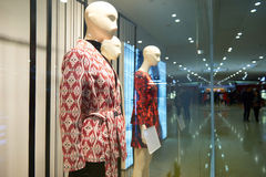Female fashion shop window. Front of women's clothing store in Hongkong center,Asia royalty free stock image