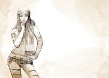 Female fashion sketch Stock Photos