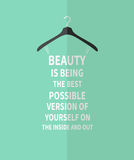 Female fashion stylized dress from quote about beauty Stock Photography