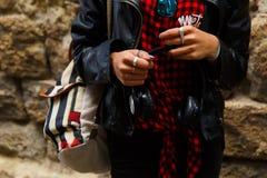 Female fashion teenager music outdoors. Female teenager enjoy music outdoors Stock Image