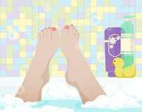 Female feet in bathroom Stock Image