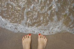 Female feet on the beach. With nails with red lacquer royalty free stock image