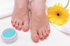 Female feet care. stock photography