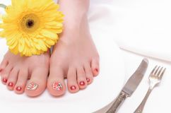 Female feet care. stock photos
