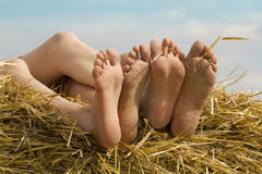 Female feet fingers relaxed Royalty Free Stock Images