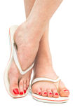 Female feet in flip-flop Royalty Free Stock Images