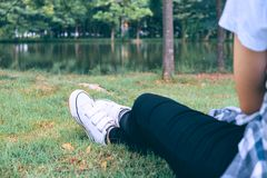 Female feet on green grass in  park. Female feet on green grass in the park Royalty Free Stock Photos