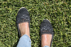 Female feet on green grass. Selfie suntanned female feet on green grass Royalty Free Stock Photography