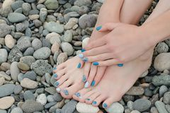 Female feet and hands with a blue manicure on pebbles Royalty Free Stock Photo