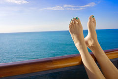 Relaxing onboard a Cruise Ship stock images