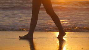 Female feet of hiker tourist walking barefoot on shore at sunset. Legs of young woman going along ocean beach during stock footage
