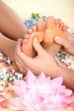 Female feet massage stock image
