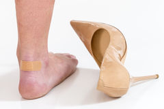Female feet in pain after wearing high heeled shoes. Female having pain after wearing high heeled shoes Royalty Free Stock Photos