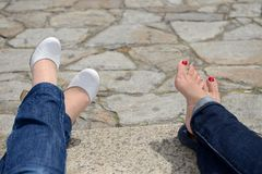 Female feet with a pedicure Royalty Free Stock Photo