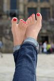 Female feet with a pedicure. Female feet with pedicure close up Stock Photography