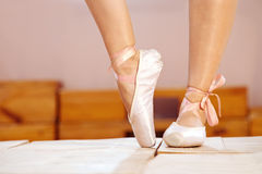 Female feet in pointes Royalty Free Stock Images